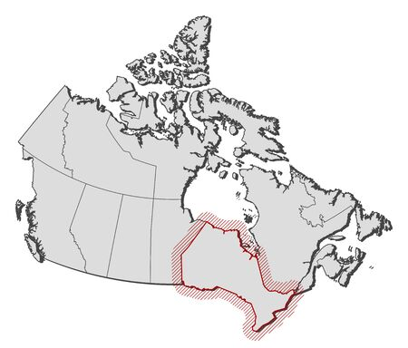 ontario: Map of Canada with the provinces, Ontario is highlighted by a hatching. Illustration