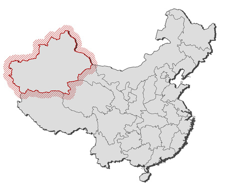 xinjiang: Map of China with the provinces, Xinjiang is highlighted by a hatching.