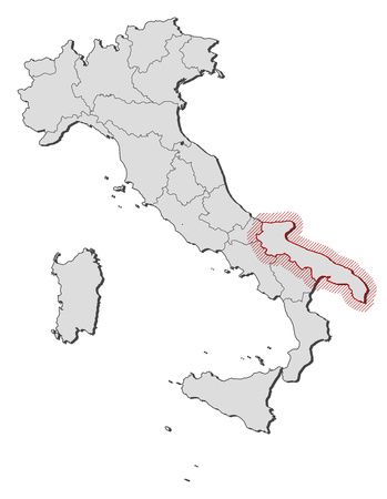 Map of Italy with the provinces, Apulia is highlighted by a hatching.