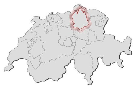 Map of Swizerland with the provinces, Zurich is highlighted by a hatching.