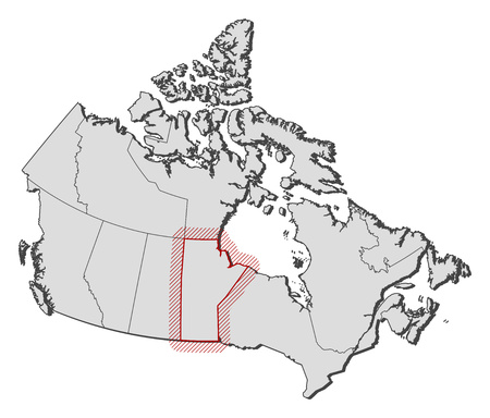 Map of Canada with the provinces, Manitoba is highlighted by a hatching. Illustration