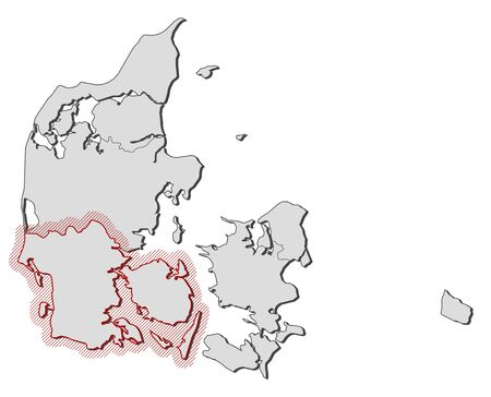 hatching: Map of Denmark with the provinces, South Denmark is highlighted by a hatching.