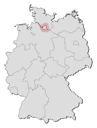 federal republic of germany: Map of Germany with the provinces, Hamburg is highlighted by a hatching.