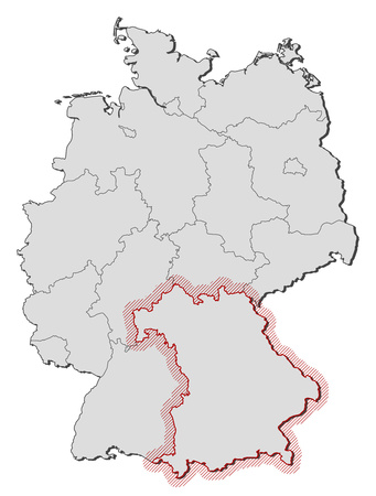 hatching: Map of Germany with the provinces, Bavaria is highlighted by a hatching. Illustration
