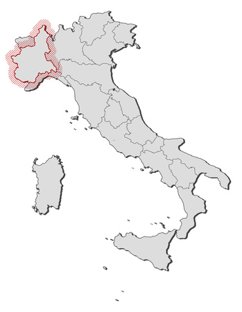 Map of Italy with the provinces, Piemont is highlighted by a hatching.