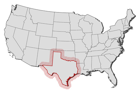 tx: Map of United States with the provinces, Texas is highlighted by a hatching. Illustration