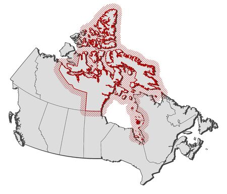 nu: Map of Canada with the provinces, Nunavut is highlighted by a hatching.
