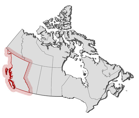 shady: Map of Canada with the provinces, British Columbia is highlighted by a hatching. Illustration
