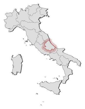 Map Of Italy With The Provinces Abruzzo Is Highlighted By A