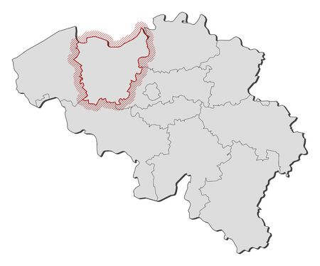 shady: Map of Belgium with the provinces, East Flanders is highlighted by a hatching.