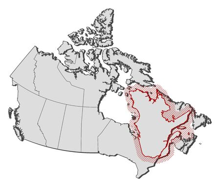 qc: Map of Canada with the provinces, Quebec is highlighted by a hatching. Illustration