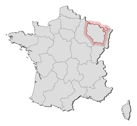 hatching: Map of France with the provinces, Lorraine is highlighted by a hatching.