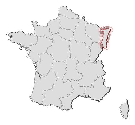 hatching: Map of France with the provinces, Alsace is highlighted by a hatching.