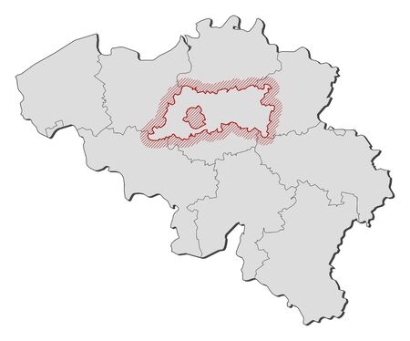 Map of Belgium with the provinces, Flemish Brabant is highlighted by a hatching.