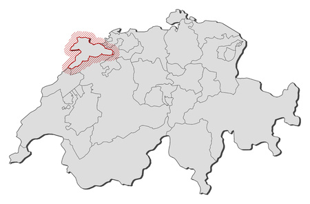 Map of Swizerland with the provinces, Jura is highlighted by a hatching.
