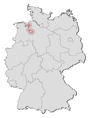 bremen: Map of Germany with the provinces, Bremen is highlighted by a hatching.