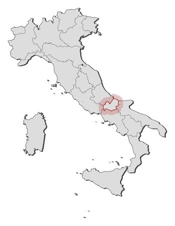 shady: Map of Italy with the provinces, Molise is highlighted by a hatching.