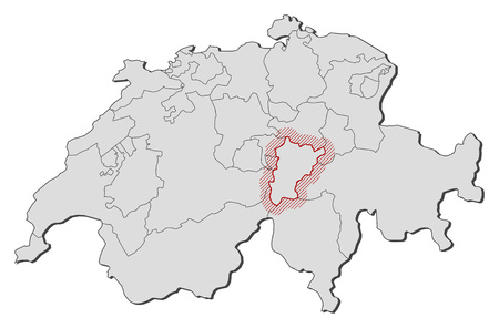 Map of Swizerland with the provinces, Uri is highlighted by a hatching.