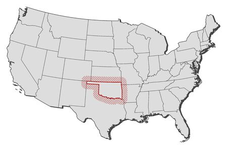 Map of United States with the provinces, Oklahoma is highlighted by a hatching.