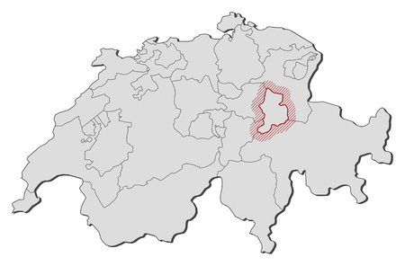 glarus: Map of Swizerland with the provinces, Glarus is highlighted by a hatching.