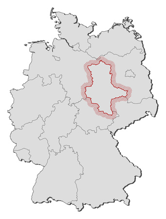 federal republic of germany: Map of Germany with the provinces, Saxony-Anhalt is highlighted by a hatching. Illustration