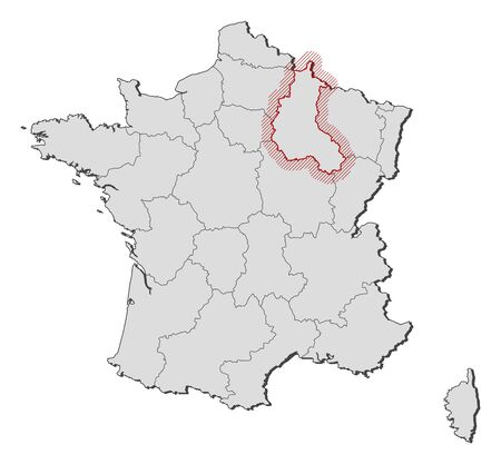 champagne region: Map of France with the provinces, Champagne-Ardenne is highlighted by a hatching.