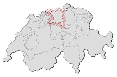 frontiers: Map of Swizerland with the provinces, Aargau is highlighted by a hatching.