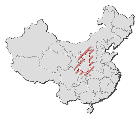 frontiers: Map of China with the provinces, Shaanxi is highlighted by a hatching. Illustration