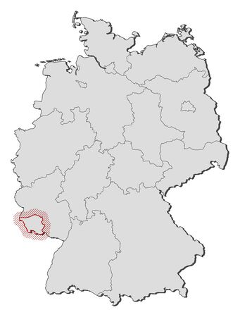 federal republic of germany: Map of Germany with the provinces, Saarland is highlighted by a hatching.