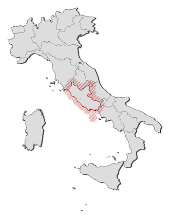 lazio: Map of Italy with the provinces, Lazio is highlighted by a hatching.