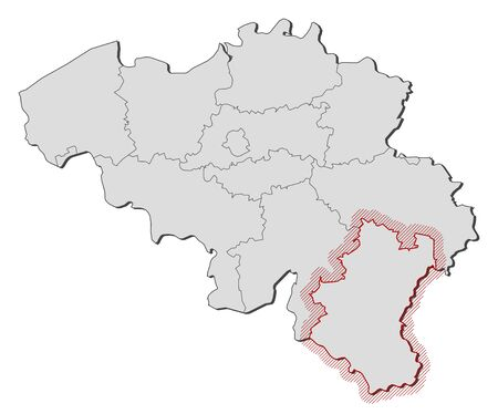 hatching: Map of Belgium with the provinces, Luxembourg is highlighted by a hatching.