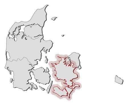 hatching: Map of Denmark with the provinces, Zealand is highlighted by a hatching. Illustration