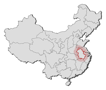 anhui: Map of China with the provinces, Anhui is highlighted by a hatching.