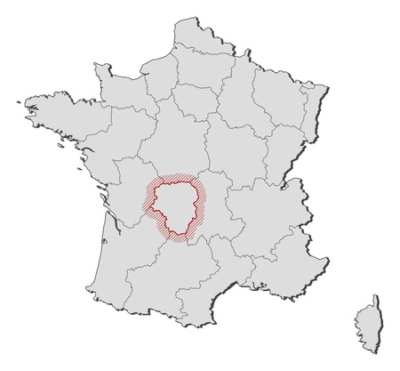 Map of France with the provinces, Limousin is highlighted by a hatching. Illustration