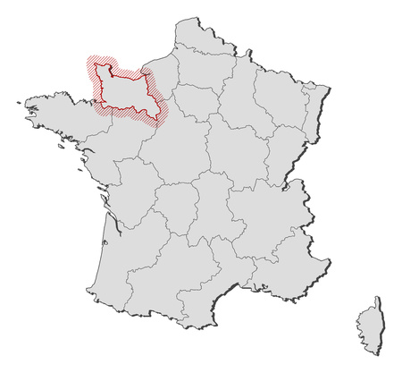 normandy: Map of France with the provinces, Lower Normandy is highlighted by a hatching.