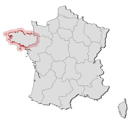 brittany: Map of France with the provinces, Brittany is highlighted by a hatching.