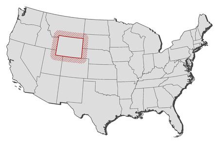지방, 와이오밍와 미국의지도 부 화하는 의해 강조 표시됩니다.