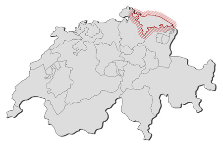 shady: Map of Swizerland with the provinces, Thurgau is highlighted by a hatching.