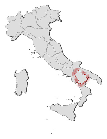 Map Of Italy With The Provinces Basilicata Is Highlighted By A