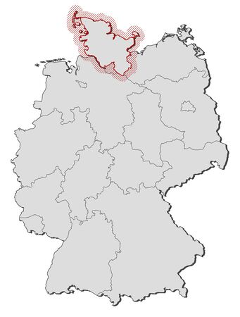 hatching: Map of Germany with the provinces, Schleswig-Holstein is highlighted by a hatching. Illustration