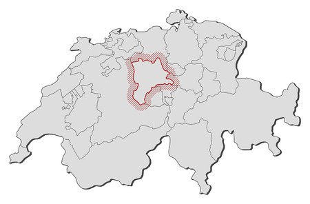 Map of Swizerland with the provinces, Lucerne is highlighted by a hatching.