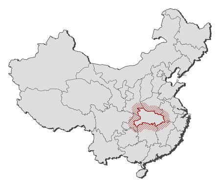 frontiers: Map of China with the provinces, Hubei is highlighted by a hatching. Illustration