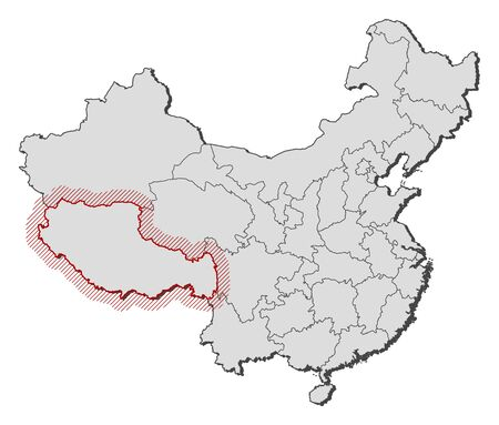 tibet: Map of China with the provinces, Tibet is highlighted by a hatching.