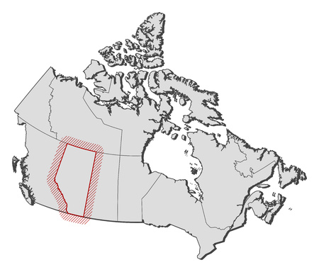alberta: Map of Canada with the provinces, Alberta is highlighted by a hatching. Illustration