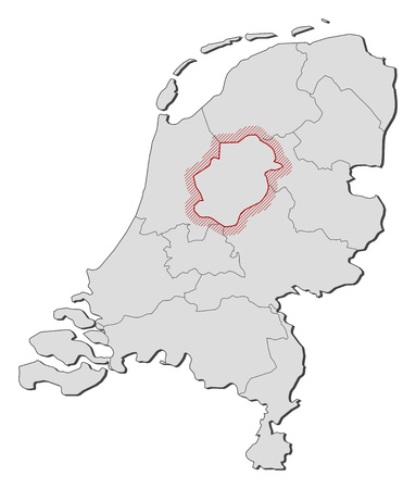 flevoland: Map of Netherlands with the provinces, Flevoland is highlighted by a hatching. Illustration