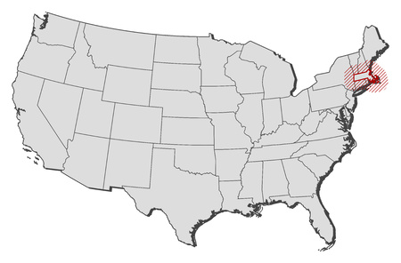 Map of United States with the provinces, Massachusetts is highlighted by a hatching. Illustration