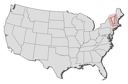 Map of United States with the provinces, Vermont is highlighted by a hatching.