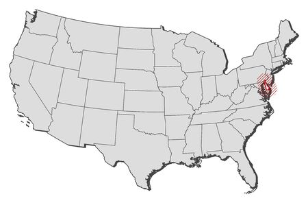 Map of United States with the provinces, Delaware is highlighted by a hatching. Illustration
