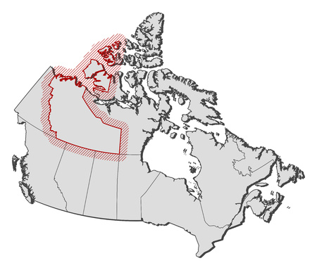 territories: Map of Canada with the provinces, Northwest Territories is highlighted by a hatching.
