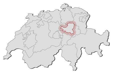 Map of Swizerland with the provinces, Schwyz is highlighted by a hatching.
